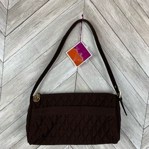 NWT zip top shoulder bag in espresso